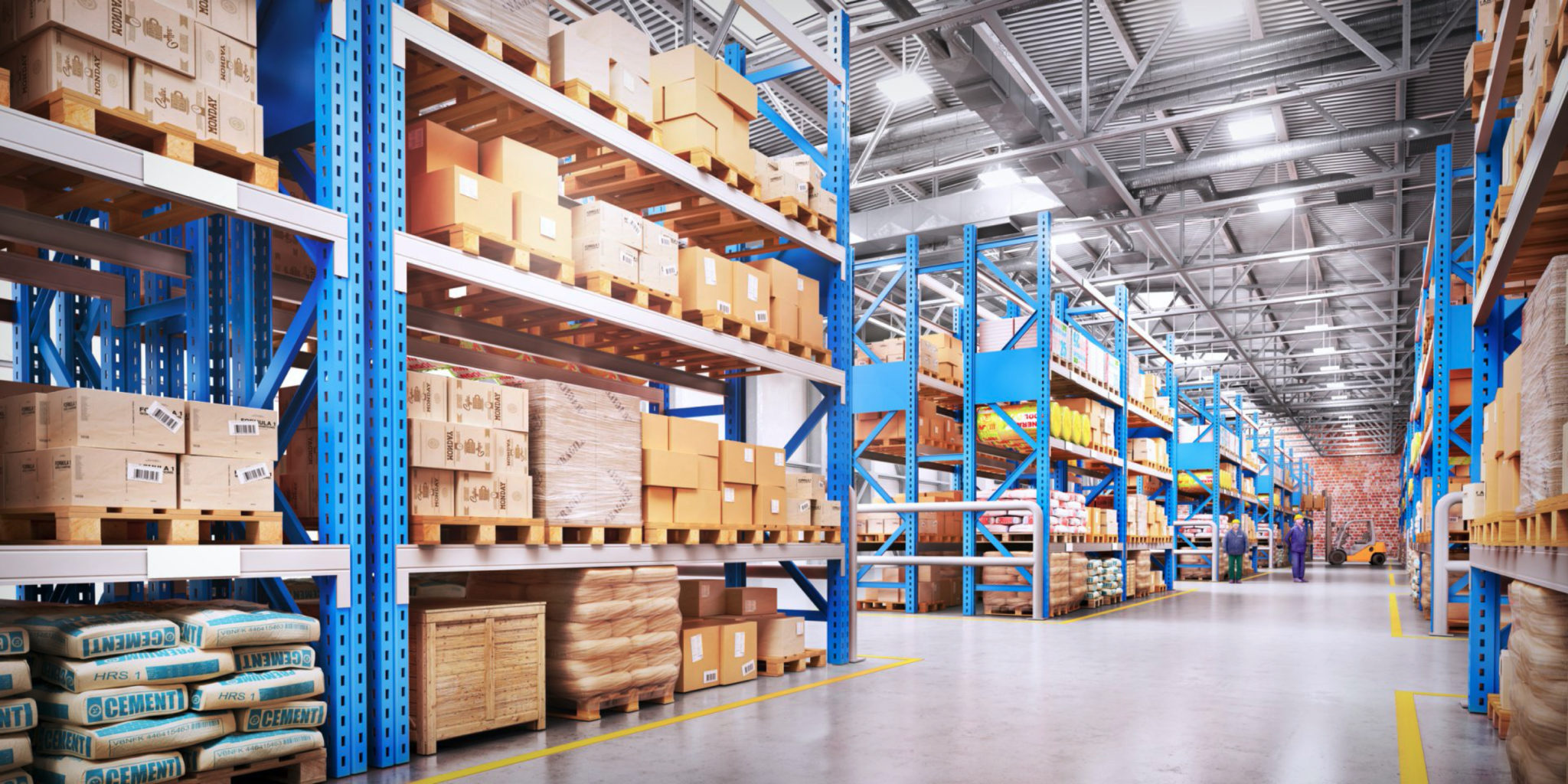 Inside view of distribution center warehouse